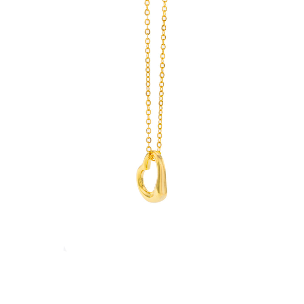 Freeform Heart Necklace, 18k Gold Plated Sterling Silver