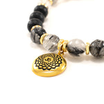 Spiritual Growth Male Balance Gift Set with Crown Chakra Bracelet, Rutiliated Quartz and Onyx
