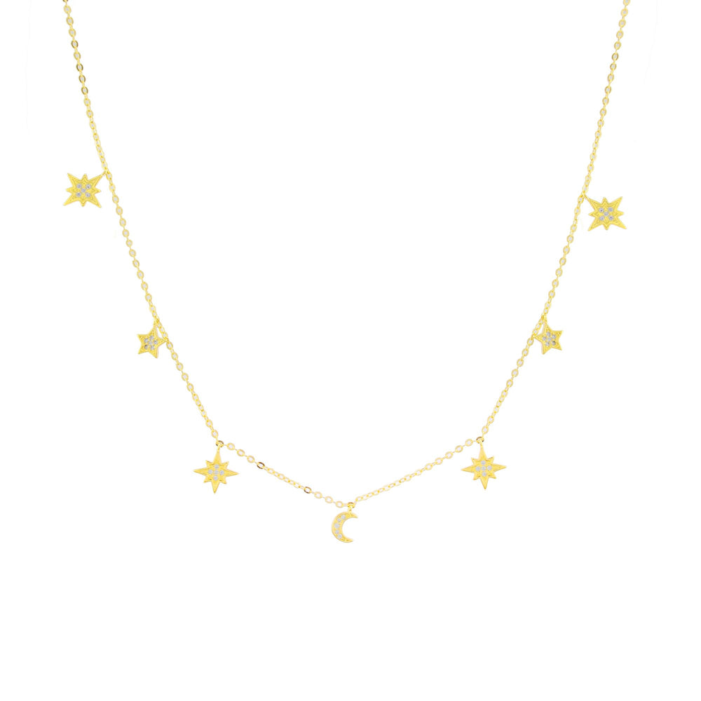 Heavenly Realms Moon & Stars Drop Choker Necklace, Gold Vermeil, CZ Diamond