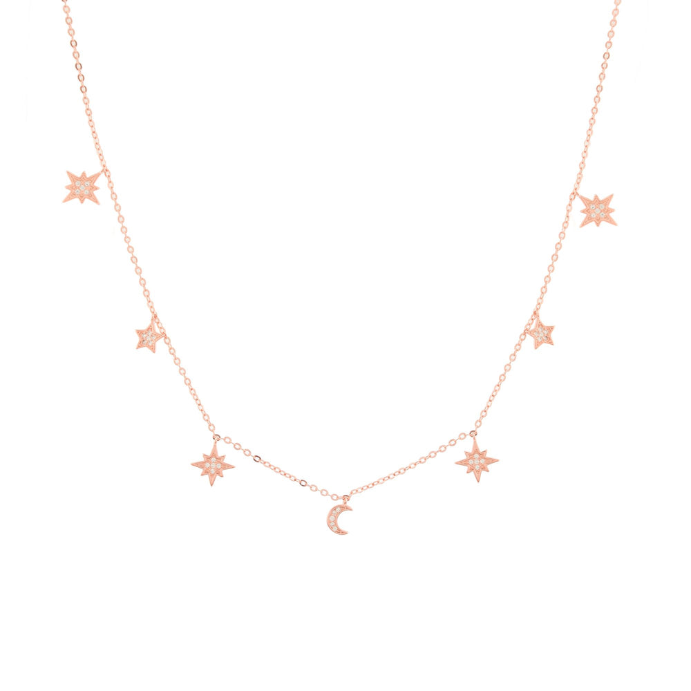 Heavenly Realms Moon & Stars Drop Choker Necklace, Rose Gold Vermeil, CZ Diamond