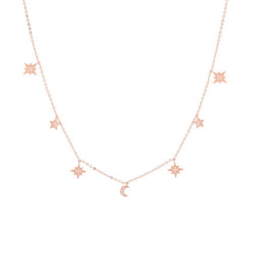 Heavenly Realms Moon & Stars Drop Choker Necklace, White Rhodium, CZ Diamond