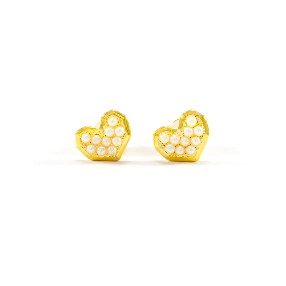 Pearl Heart Stud Earrings, 18k Gold Plated Sterling Silver