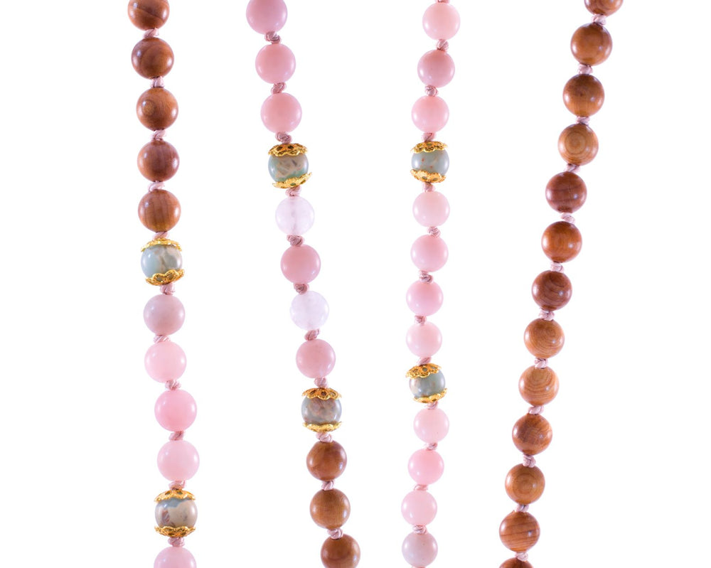 Divine Feminine Rosewood Repousse Mala, with Pink Opal, & Snakeskin Jasper,