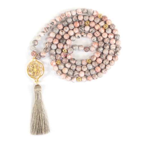 Protect Your Aura Seed of Life Pink Zebra Jasper Stone Necklace/Wrist Mala, 18k Gold Plated