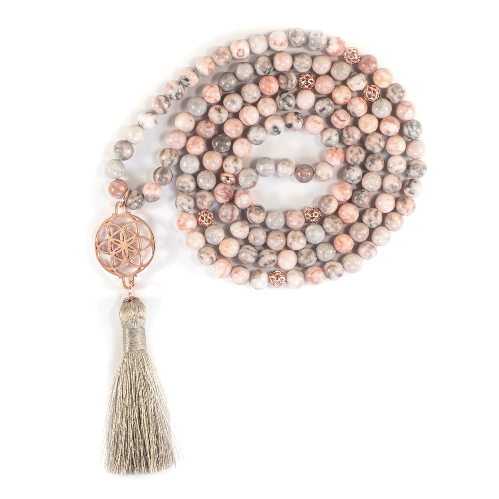 Protect Your Aura Seed of Life Pink Zebra Jasper Stone Necklace/Wrist Mala, Rose Gold Plated