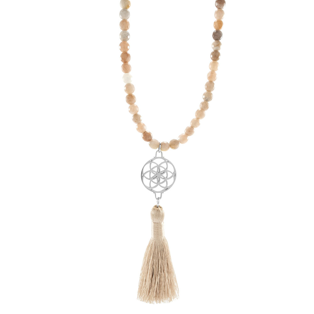 Self-Empowerment & Freedom Seed of Life Sunstone Necklace/Wrist Mala, White Rhodium Plated