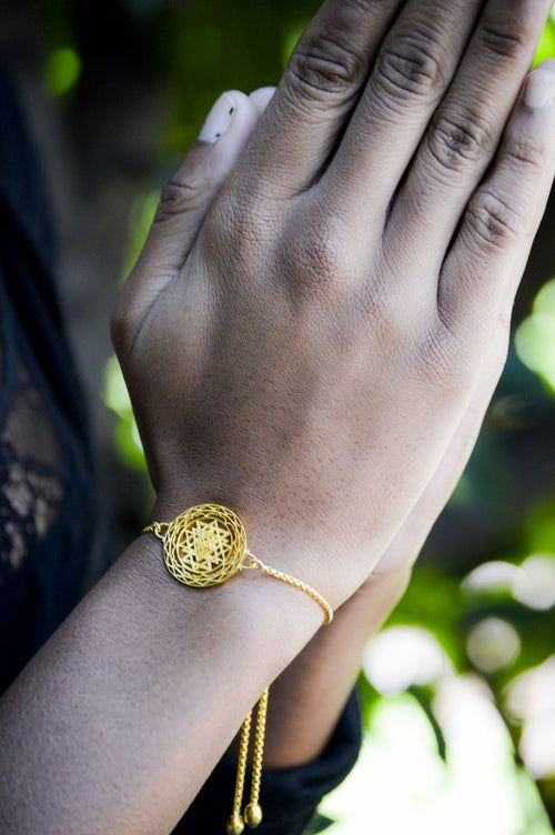 SRI YANTRA Supreme Manifestor Adjustable Bracelet, 18K Gold Vermeil