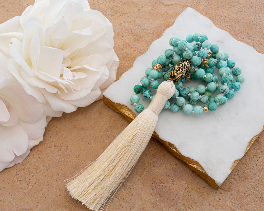 Good Fortune Peruvian Turquoise Repousse Mala, White Rhodium Plated