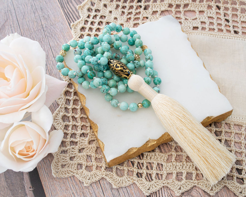 Good Fortune Peruvian Turquoise Repousse Mala, 18k Gold Plated