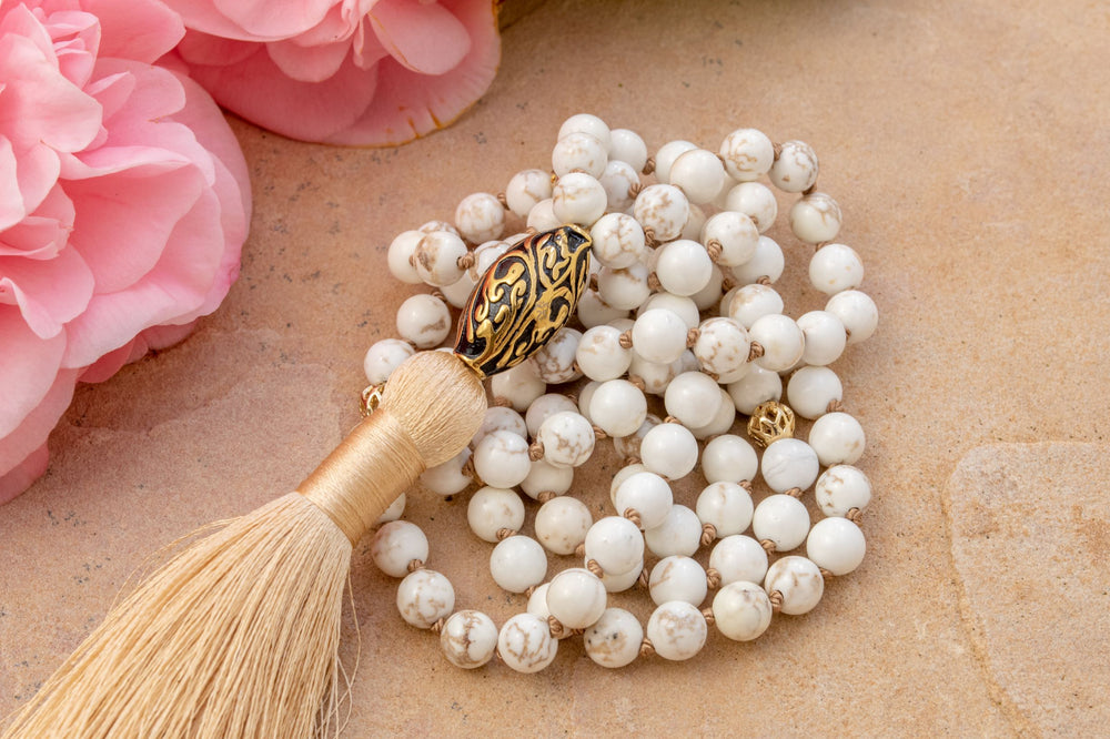 Balanced Energy White Turquoise Repousse Mala, 18k Gold Plated