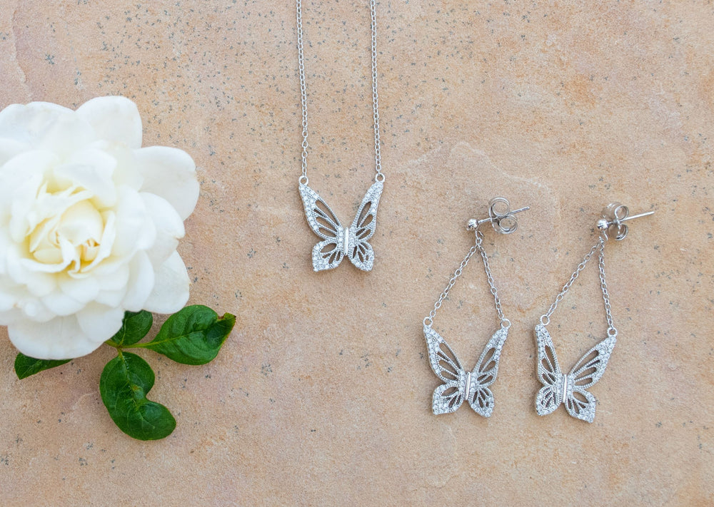 Graceful Spirit Butterfly Earrings, White Rhodium with CZ Diamond Pave