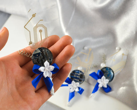 blue circuit board boutonniere with keyboard and pearls