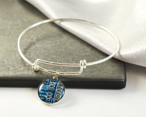 blue circuit board sterling silver bangle charm bracelet