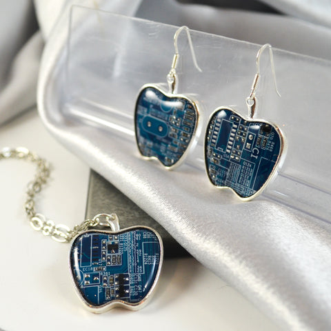 blue circuit board apple necklace and matching blue earrings