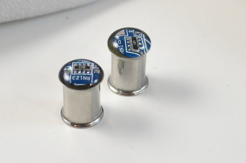 blue circuit board gauge earrings with steel double flare