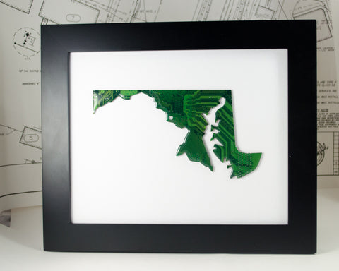 maryland state art made from recycled green circuit board