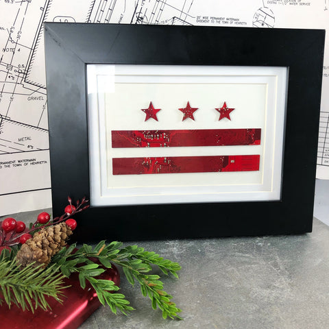 washington dc flag framed art made from red motherboards