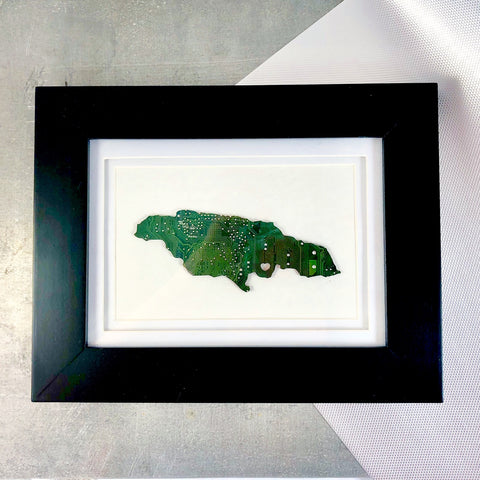jamaica framed art made from green recycled circuit board