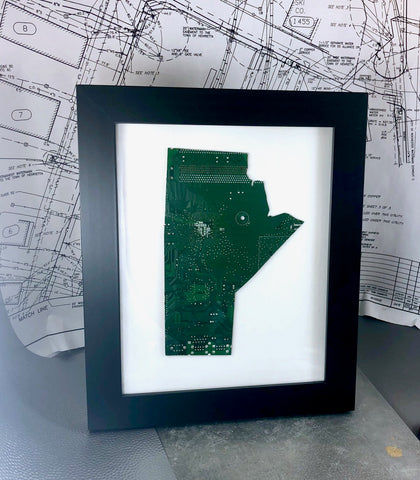 Manitoba canada framed art made from green recycled circuit motherboards