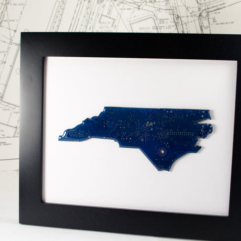 north carolina framed art made from blue recycled circuit board