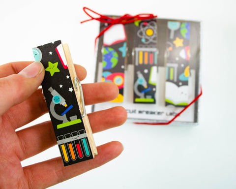 handmade magnetic clip sets featuring a cute science and STEM design