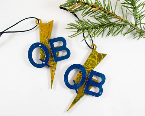 custom robotics team ornaments made from recycled circuit boards