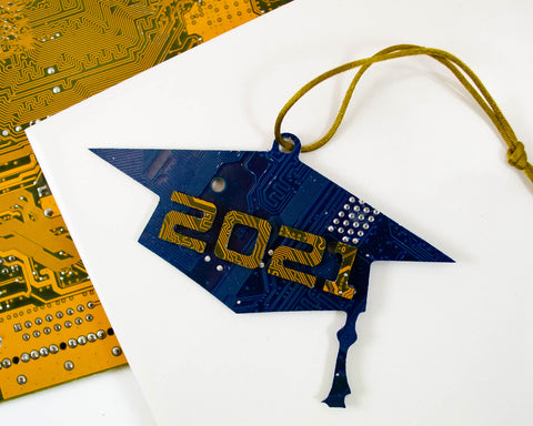 Custom graduation cap ornament for 2021 made with recycled circuit boards