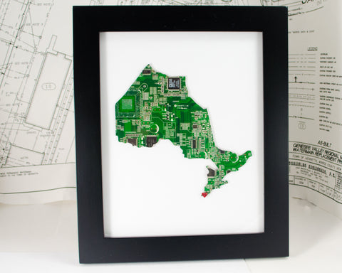 ontario canada province framed art piece made from green recycled circuit board
