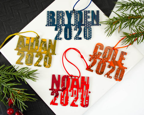 handmade circuit board ornaments personalized and customized with name and year. These make excellent stocking stuffers for the computer programmer or software engineer in your family