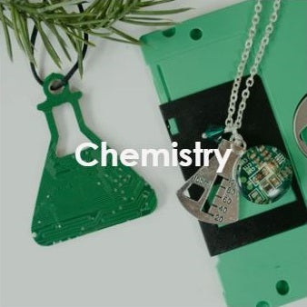 Handmade chemistry gifts including circuit board erlenmeyer flask ornament