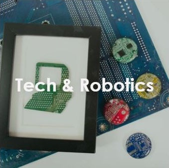 handmade tech and robotics gift ideas including a computer monitor framed art made from circuit boards and motherboard magnets