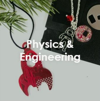 handmade physics and engineering gift ideas including an astronaut charm necklace and a recycled circuit board vintage style rocket ship ornament
