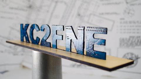 Custom call sign tabletop plaque made from recycled circuit boards