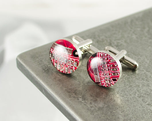 handmade recycled red circuit board cufflinks