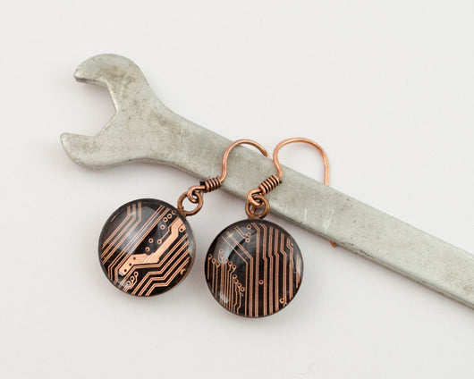 copper circuit board dangle earrings