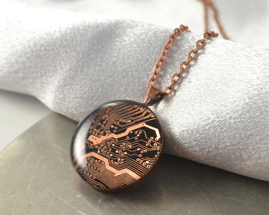 recycled copper circuit board round necklace