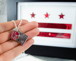 washington dc necklace with red circuit board charm with dc flag in background