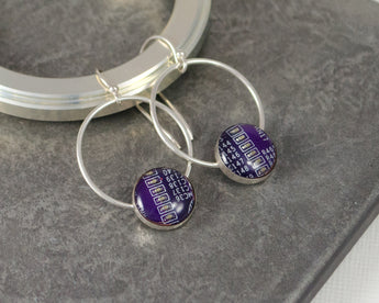 purple circuit board earrings
