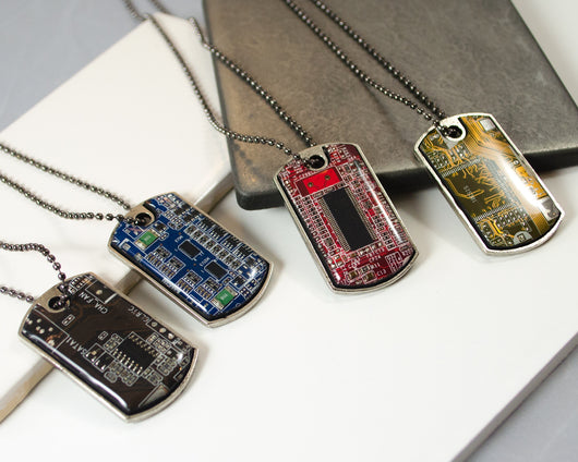 circuit board dog tag necklace gunmetal