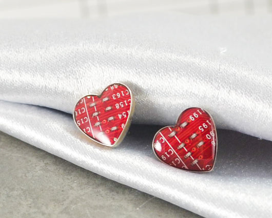sterling silver red circuit board heart post earrings
