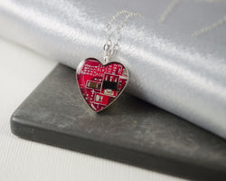 red circuit board heart necklace