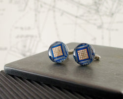blue circuit board cuff links