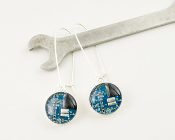 Circuit Board Earrings - Long Sterling Silver Dangle Earrings