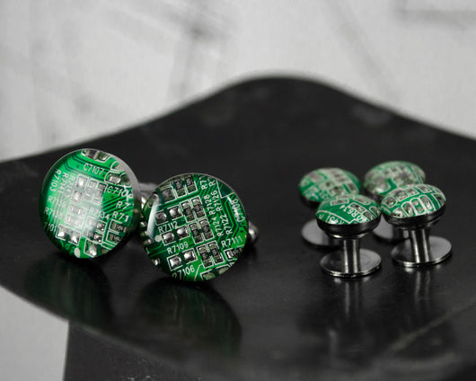 green circuit board cuff links and tuxedo shirt studs