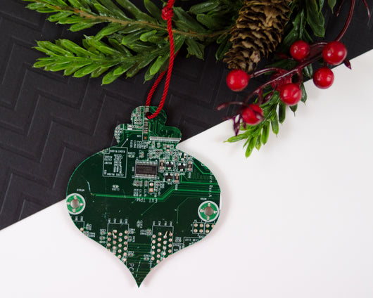 green bulb shape circuit board ornament