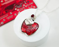 handmade circuit board necklace in shape of apple with number one teacher charm