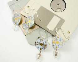 handmade earrings made from recycled white circuit boards and swarovski crystal beads and diodes