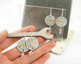 White PCB Earrings - Sterling Silver