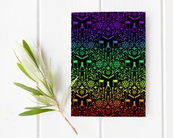 Rainbow Chemistry Damask Greeting Card