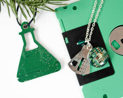 Erlenmeyer Flask Necklace & Ornament Set